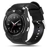 Kivors Reloj Inteligente, Bluetooth Smartwatch Pulsera Deportes Fitness Tracker Tarjeta SIM y TF con Seguimiento de Pasos, Dormir Monitor, Pulsación de Notificación de Mensaje para Android e IOS (Negro)