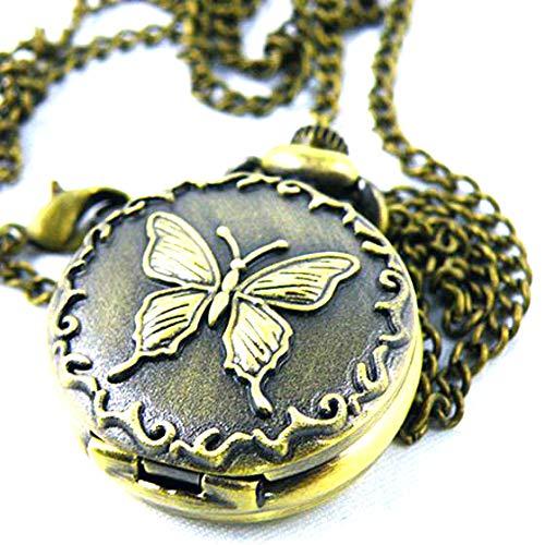 Sodial Bronce Decorativo Reloj de Bolsillo con Mariposas y Cadena