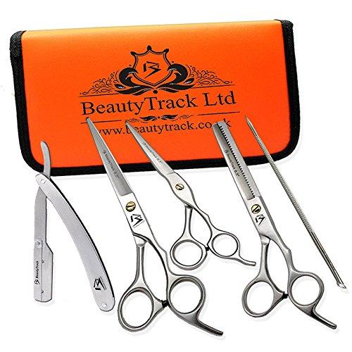 BeautyTrack Set regalo parrucchieri & forbici sottili per capelli salone barbiere forbici per destri, forbice + rasoio di sicurezza - Metal Hair pin - Forbici parrucchiere College kit completo