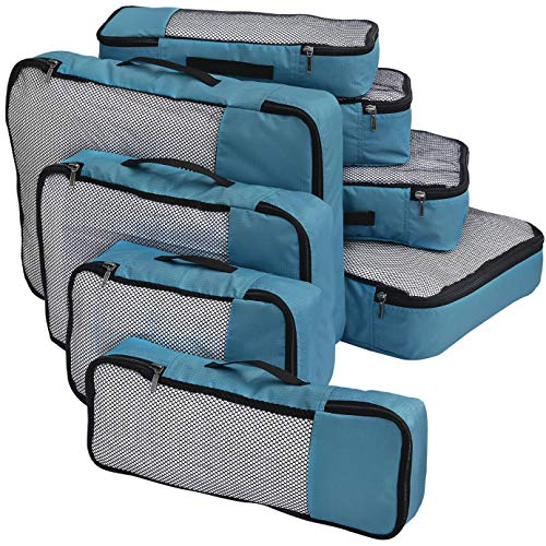 FATMUG Packing Cubes Travel Pouch Bag Organiser Set of 8 (2 x Large-Medium-Small and Slim) - Blue