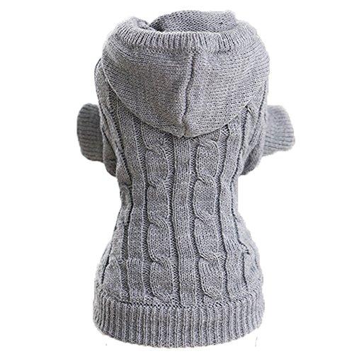 ubest Warme Hundepullover, Sweater Gestrickter Pullover mit Kapuze für Kleine Hunde, Hund Pullover für Herbst Winter, Grau, XS