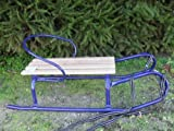 Metal sledge with back rest and wooden seat