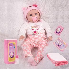 KKI Muñecas Reborn, Muñeca Realistas Reborn bebé niña, 55 cm Muñecas de Vinilo y Silicona de Suaves, Sumpleaños de Juguete para Niños (Certificación EN71)