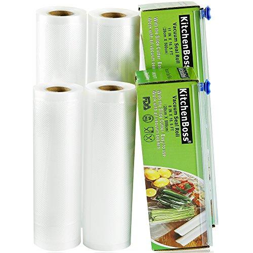KitchenBoss Sottovuoto Sacchetti Alimenti 4 Rotoli 20x500 e 28x500cm Sacchetti per Sottovuoto con 2 Scatola Fresa(Non più forbici) Rotoli Sacchetti goffrati,Approvazione FDA e BPA gratuito