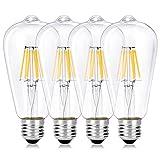 Wedna 4 Piezas Bombilla decorativa LED con filamento, ST64 E27 6 W Edison Bombillas, equivalente a 60 W, estilo vintage, No regulable, Blanco cálido