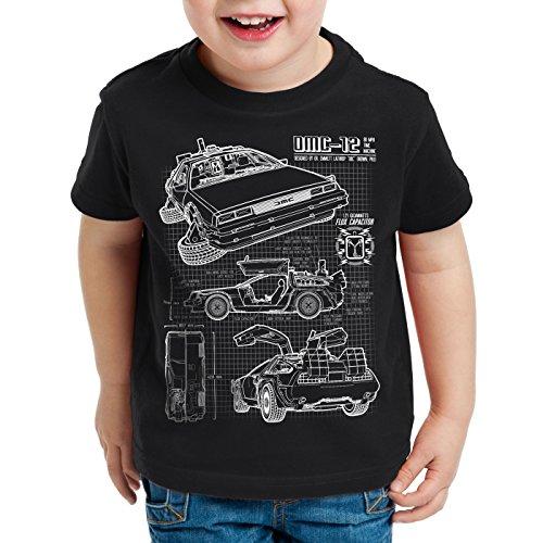 style3 DMC-12 Cianografia T-Shirt per Bambini e Ragazzi Ritorno Futuro, Colore:Nero;Dimensione:140