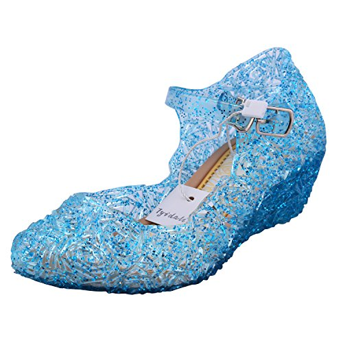 Tyidalin Ballerina Scarpe Ragazza Principessa Costume Ballet Slipper Tacco Festive per 3 a 12 Anni Blue EU28-33 (EU26(Fabbricante Dimensione 28), Blu)