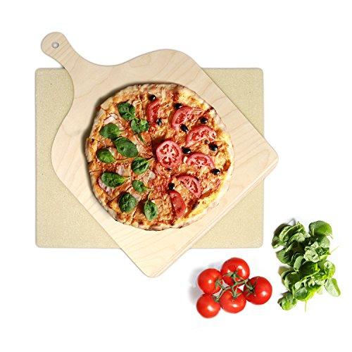 KLAGENA Set Pietra refrattaria per Pizza e Pane, per Forno e Barbecue - Pietra per Pizza/Set con...