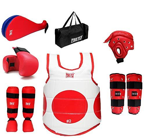 FIRE FLY Player Taekwondo Kit Approved Karate Safety All Gears Set PU II GlovesII Chest and Head Guard II Shin Guard Instep II Arm Guard II Fan Pad Training Stick (S, Red) 4