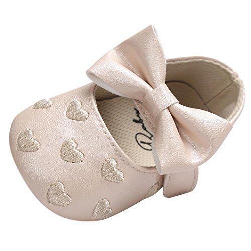 UOMOGO Scarpine neonato Bowknot Scarpe Bambino Scarpe Casuali 6-18 Mesi (età: 0~6 Mesi, Cachi)