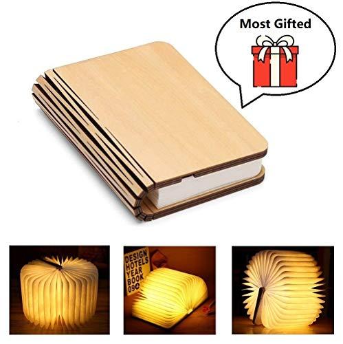 Yuanj Mini Lampada Libro, USB Ricaricabile Pieghevole in Legno LED Luce del Libro per...