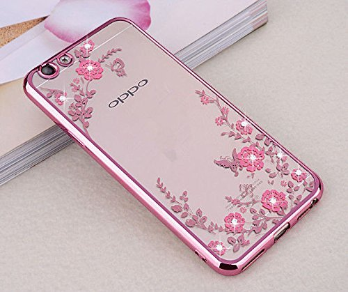 Oppo F3 Plus Case, KolorFish Little Flower Butterfly TPU Transparent Back Cover Case For Oppo F3 Plus - Rose Pink