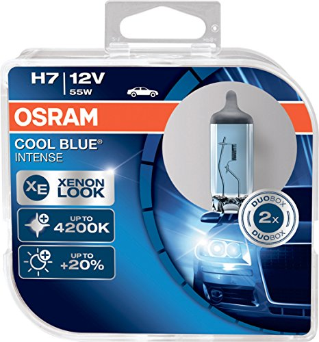 OSRAM COOL BLUE INTENSE H7, proiettori alogeni per auto, 64210CBI-HCB, 12V, duobox (2 pezzi), 4200K