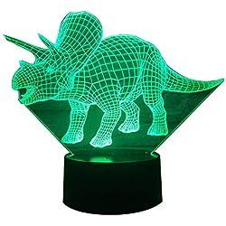 KAKA Store, lámpara de escritorio en forma de dinosaurio con iluminación óptica 3D, 7 colores que cambian con un botón táctil, USB, luz nocturna, efectos de iluminación únicos, escultura con luz