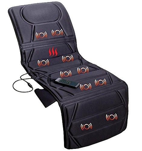 ECO-DE RELAX MAT Materassino massaggiante con 8 vibromotori, 4 Zone di massaggio, 3 livelli di intensitá, 5 Modalitá e con Calore Lombare, tappetino massaggio,