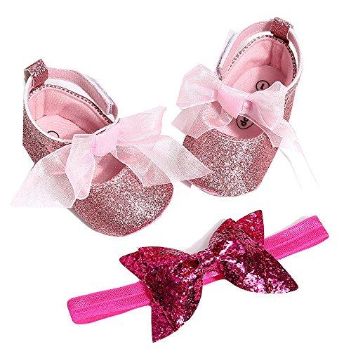 Innerternet Scarpe Neonata Fiore con Cerchietto Battesimo Set Regalo, Bambina Paillette Scarpe Anti Scivolo Mary Jane Scarpe per Neonata Eleganti da Cerimonia Baby