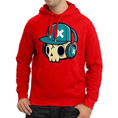 lepni.me Felpa con Cappuccio The DJ! (Large Rosso Multicolore)