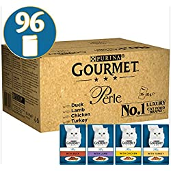 Purina Gourmet perle Wet Cat food, mini filetti in salsa, Confezione da 4 gusti- 96 buste x 85g