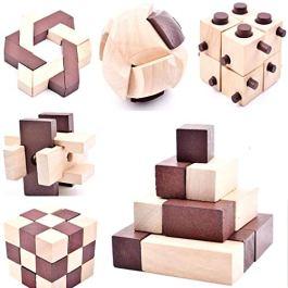 B&Julian 3D IQ Puzzle Giocattoli di Legno per Bambini e Adulti 10pcs / Set