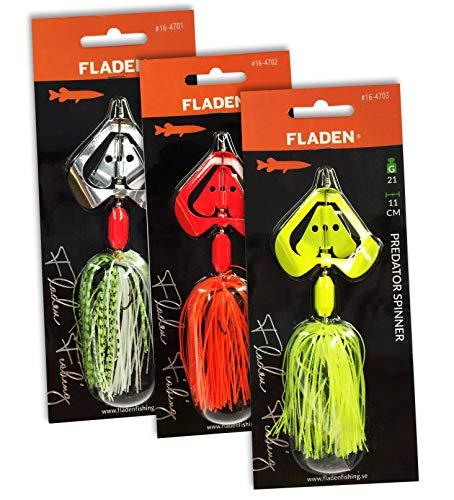 Fladen, Set di 3 Esche da Pesca per luccio e luccio con Piume al Neon, 11 cm, 21 g, per spigola, sgombro, persico, luccio [16-4701ALL]