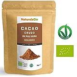 Cacao Crudo Biologico in Polvere da 1kg | 100% Bio, Naturale e Puro | Prodotto in Perù dalla Pianta Theobroma Cacao | Superfood Ricco di Antiossidanti, Minerali e Vitamine | NATURALEBIO