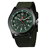 Zeiger Military Mens Watches Analogue Quartz Date Watch for Man Army Green Nylon Band Sport Wristwatch with High Quality Watch Box W283