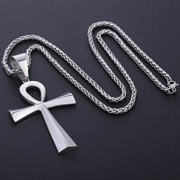 Trendsmax Hombres Mujeres Unisex Tono De Plata De Acero Inoxidable Egipcio Ankh Cruz De La Vida Egipto Símbolo Colgante Collar 8