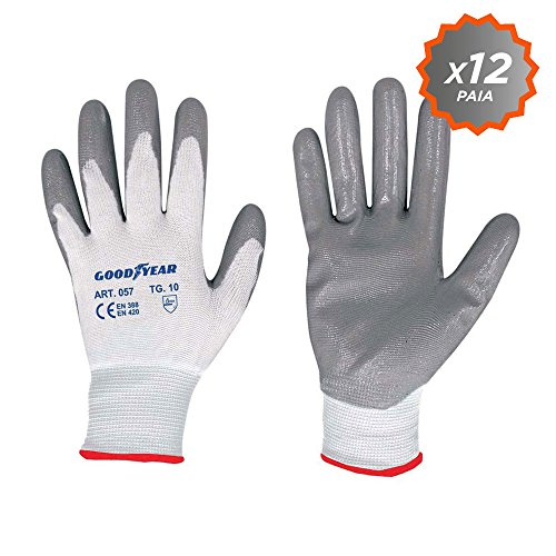 Confezione da 12 guanti da giardino a filo continuo elasticizzato Goodyear con palmo ricoperto in...