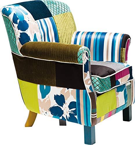 Kare Design - Poltrona patchwork con braccioli, stile retrò, 76 x 66 x 74 cm, multicolore