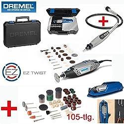 DREMEL Multitool 3000-25 Set - inklusive 25 DREMEL Zubehörteile, DREMEL Biegsame Welle, DREMEL Profi-Koffer, Werkzeughalter mit Kabelaufwicklung und 105-tlg. SILVERLINE Zubehörset