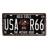 Evilandat, targa metallica Route 66,vintage. Route 66, targa automobilistica decorativa da parete, ideale per negozi, garage, bar, pub Bald Eagle