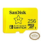 SanDisk MicroSDXC UHS-I Scheda per Nintendo Switch 256 GB, Modello 2019, Official Nintendo Licensed Product, Giallo