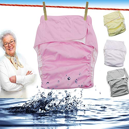 3nh Pack of 3 Re-usable adult diapers forelderly anddisabled, adjustable TPU jacket Water Proof incontinence pants underwear D20