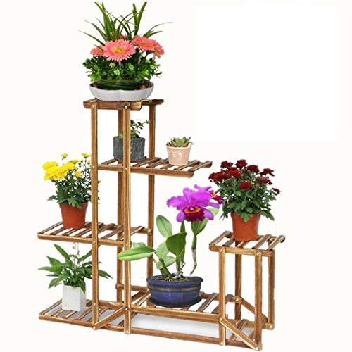 WISFORBEST Blumenregal Holz, 5 Ebenen Blumenständer, mehrstöckig Pflanzentreppe für Innen-Balkon Wohzimmer Outdoor Garten Deko, 96x95x25cm, Braun Holzregal