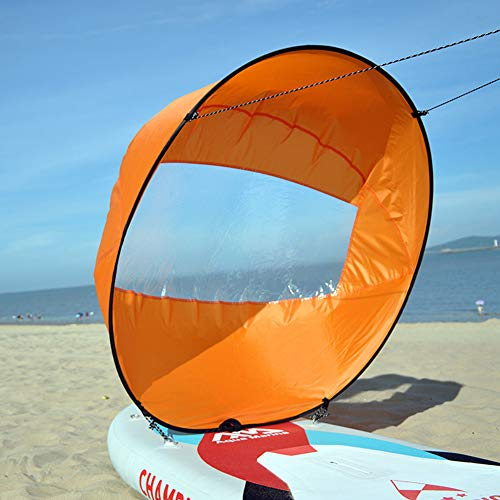 Alician 42in/108cm Sail Foldable Kayak Boat Wind Sail Sup Paddle Board Sailing Canoe Stroke Paddle Rowing Boats Wind Clear Window Orange 108cm