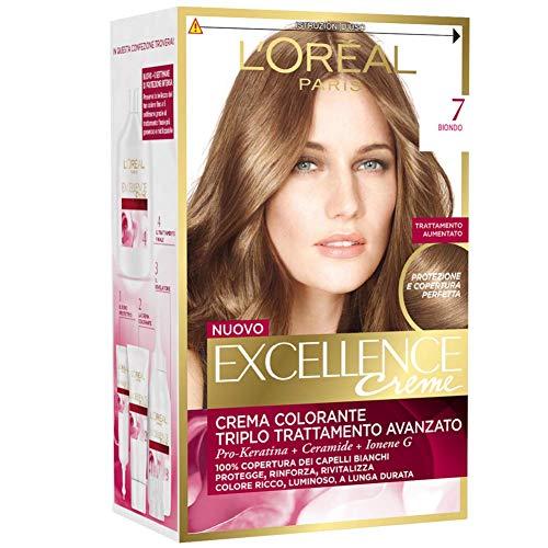 L'Oréal Paris Excellence Creme, Tinta Colorante con Triplo Trattamento Avanzato, Copre i Capelli Bianchi, 7 Biondo