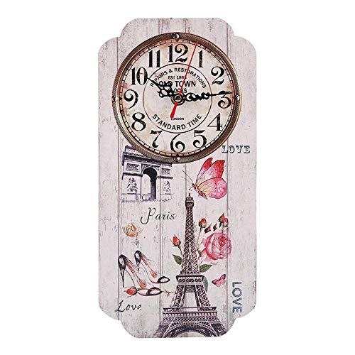 AUNMAS Orologio da Parete Stile Vintage Europeo con Motivo a Torre Eiffel Orologio da Parete analogico con Numeri rettangolari Arabi per Decorazioni per la casa