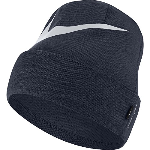 Nike Swoosh Cuffed Beanie, Unisex, 876501-011, Black/White, Taglia Unica