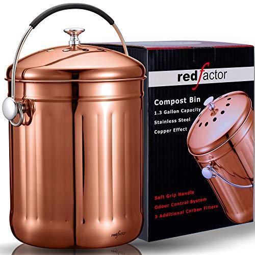 RED FACTOR Premium Kompostbehälter Küche Aus Edelstahl Geruchlos - Bio Mülleimer Für Küchenarbeitsplatten - 5L Komposter Eimer In Kupferfarbe - Inklusive 3 Kostenlosen Aktivkohlefiltern