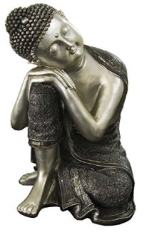 Edenjardi Figura de Buda durmiendo de Resina en Color Plata y Gris | Tamaño: 20x20x29 cm | Portes Gratis