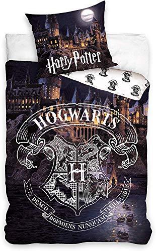 Carbotex Harry Potter Set Letto Castello di Hogwarts 2 Pezzi Copripiumino 140x200cm e Federa 70x90cm...