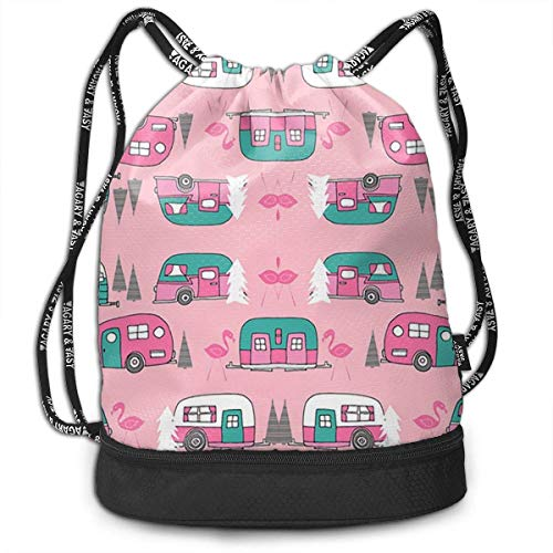 ewtretr Sacche Coulisse Zaino,Borse Sportive, Pink Happy Camper Camping Draw String Backpack Bags...