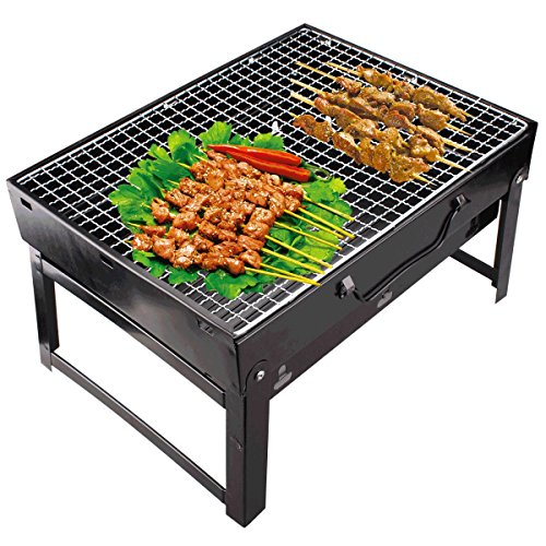 Supreme Folding Portable Outdoor Barbeque Charcoal BBQ Grill Oven Black Carbon Steel, Black