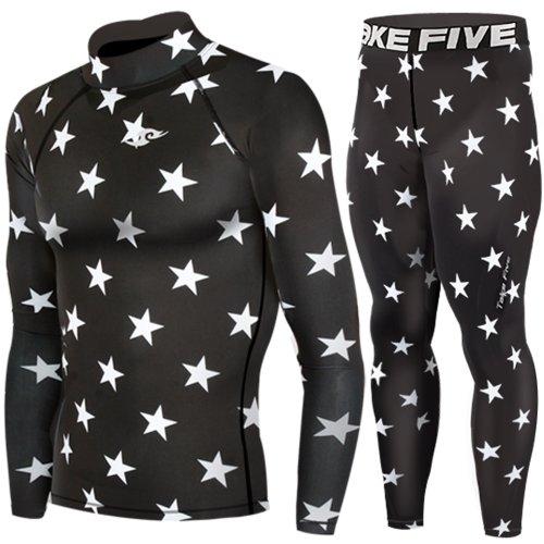 Piel de compresión térmica de manga larga debajo de la camisa y pantalones arador cadorabo SET, hombre, color Negro - Black Star, tamaño small
