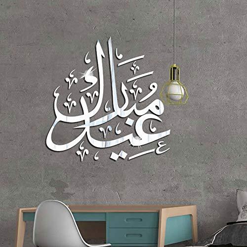 kyprx Cultura Islamica 3D Acrilico Specchio Wall Sticker Musulmano Sticker Camera da Letto Soggiorno...