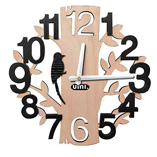 Umi. Essentials Orologio da Parete a Forma D'albero, Silenzioso, Movimento al Quarzo, per Uffici, Cucine, Salotti, ecc.