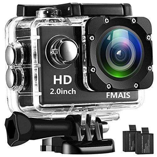 FMAIS 1080P Action Camera Camcorder Full HD LCD da 2 pollici Underwater 30m / 98ft Fotocamera sportiva impermeabile con 2 batterie ricaricabili e kit di accessori di montaggio