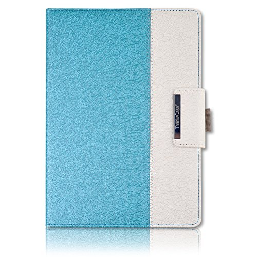 Thankscase iPad Pro 12.9 Case, Rotating Case Smart Cover for iPad Pro 12.9 2015/2017 Release (Not Fit 2018 Release) with Apple Pencil Holder, Wallet Pocket, Hand Strap, Great Pattern (Teal Blue)