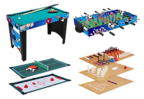 KMH - Tavolo da gioco multifunzione, 12 in 1, per biliardo, biliardino, hockey da tavolo, tennis da...