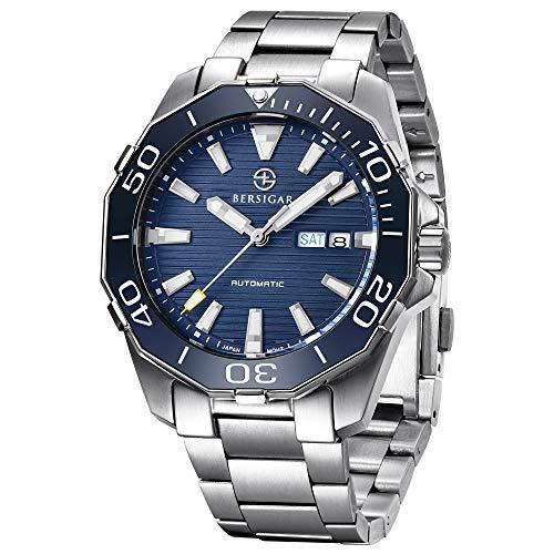 Herren Klassische Taucher-Serie Mechanische Uhren Wasserdicht Edelstahl Marke Armbanduhr Herren - blau